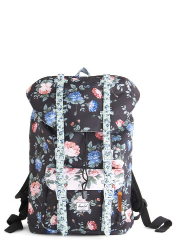 On a Flower Trip Backpack by Herschel Supply Co. - Black, Multi, Floral, Casual, Darling, Spring, Summer, Black, Travel, Scholastic/Collegiate