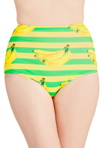 Dive for Excellence Swimsuit Bottom in Banana Stand - Yellow, Green, Stripes, Novelty Print, Beach/Resort, Vintage Inspired, High Waist, Multi, Summer, Exclusives, Knit