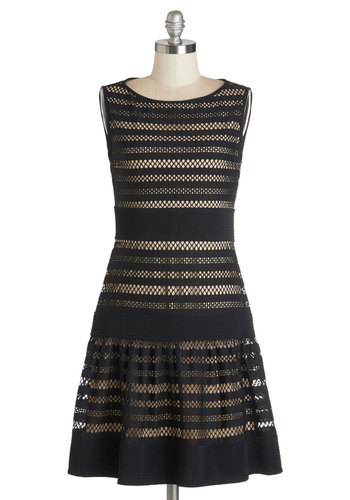 Infused with Intrigue Dress - Black, Tan / Cream, Crochet, Party, Drop Waist, Sleeveless, Better, Knit, Mid-length, Work