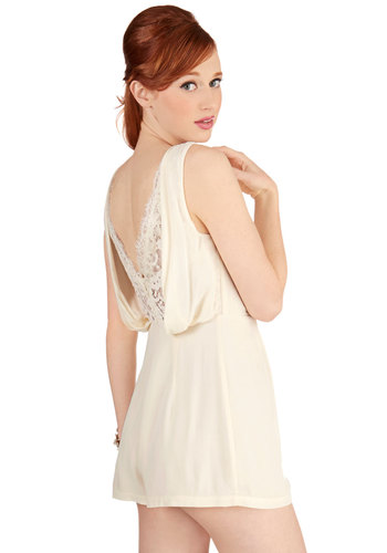 Manor of the Hour Romper - Long, Woven, Cream, Solid, Lace, Sleeveless, Summer, White, Sleeveless, Backless, Good
