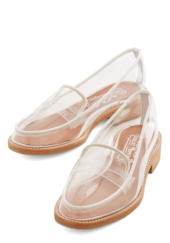 Proud and Clear Flat by Jeffrey Campbell - Low, White, Solid, Party, Menswear Inspired, Statement, Best, Trim, Mod, Scholastic/Collegiate