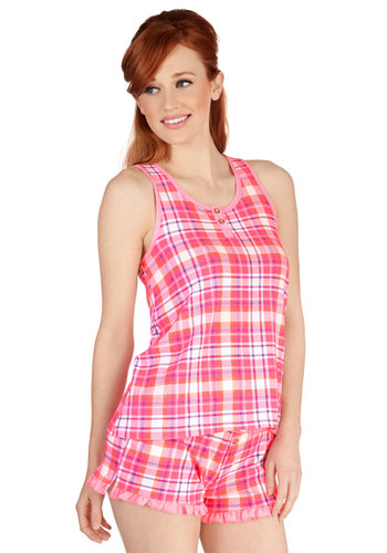 B&B Yourself Pajamas in Pink Plaid - Knit, Pink, Multi, Plaid, Bows, Buttons, Ruffles, Racerback, Variation, Scoop