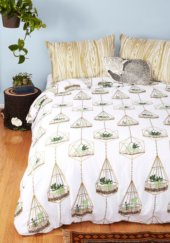 Terrific Terrarium Duvet Cover in Full/Queen - Multi, Rustic, Best, Novelty Print, Exclusives, Cotton