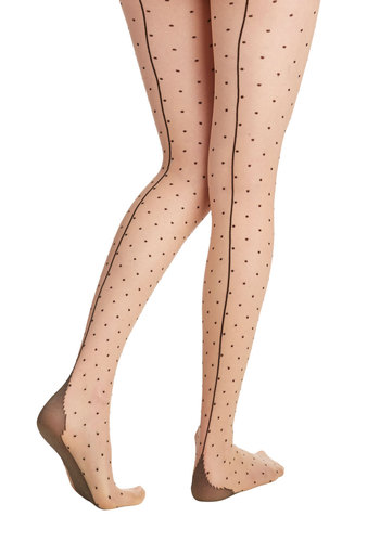 Flawless Friday Tights - Tan, Polka Dots, Pinup, Boudoir, Sheer, Knit, Black, Vintage Inspired, 40s