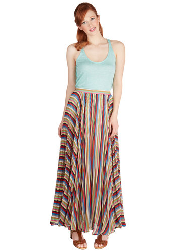 Kaleidoscope Curtsy Skirt - Maxi, Summer, Better, Multi, Long, Chiffon, Woven, Casual, Multi, Stripes, Pleats