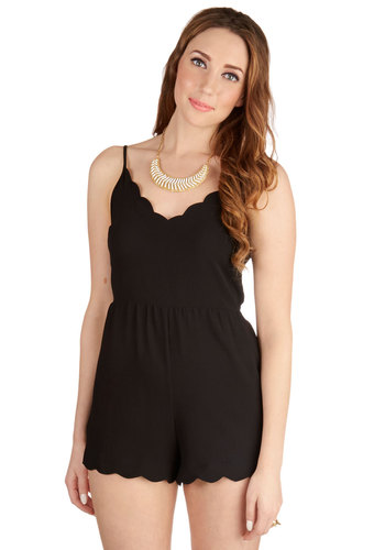Pose for Photos Romper - Jumper, Black, Non-Denim, Romper, Long, Woven, Black, Solid, Scallops, Party, Girls Night Out, Spaghetti Straps, Summer, Backless, Good