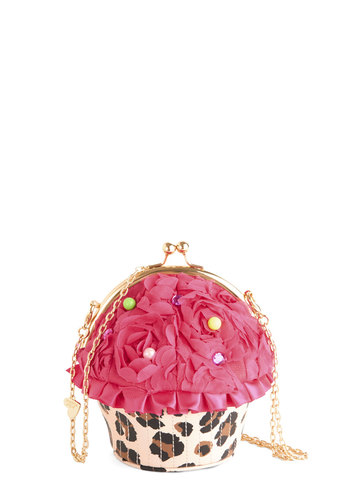Betsey Johnson Sweet to the Shop Bag by Betsey Johnson - Pink, Multi, Animal Print, Beads, Kawaii, Quirky, Pink, Faux Leather, Woven, Mixed Media, Gals, Food