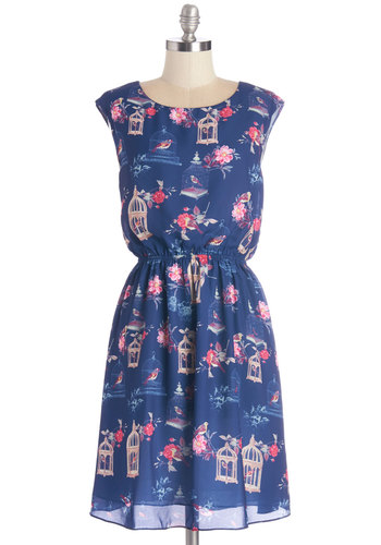 Superior Decorator Dress by Pink Martini - Multi, Floral, Print with Animals, Casual, Critters, A-line, Sleeveless, Woven, Better, Scoop, Mid-length, Blue, Bird, Woodland Creature