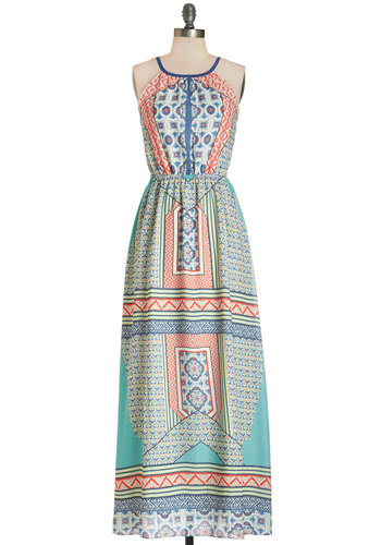 Los Cabos Coast Dress by Pink Martini - Multi, Print, Cutout, Casual, Boho, Maxi, Sleeveless, Summer, Woven, Better, Scoop, Long