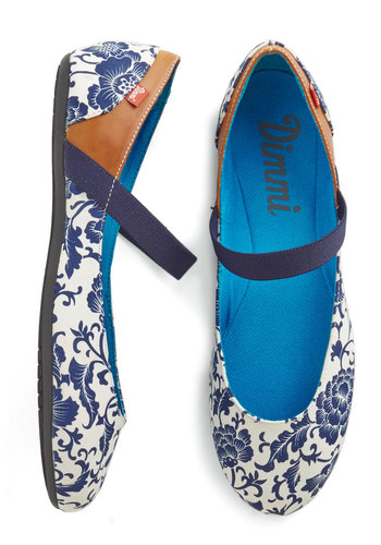 Fluttering Down Fifth Ave Flat - Blue, Floral, Daytime Party, Better, Flat, Multi, White, Casual, Top Rated