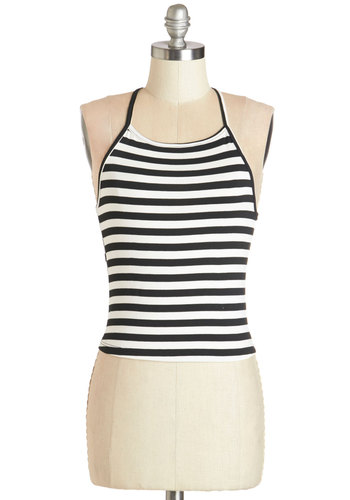 Chill and Grill Out Top - Short, Knit, White, Stripes, Vintage Inspired, 90s, Spaghetti Straps, Racerback, Spring, Summer, Black/White, Sleeveless, Black, Casual, Good