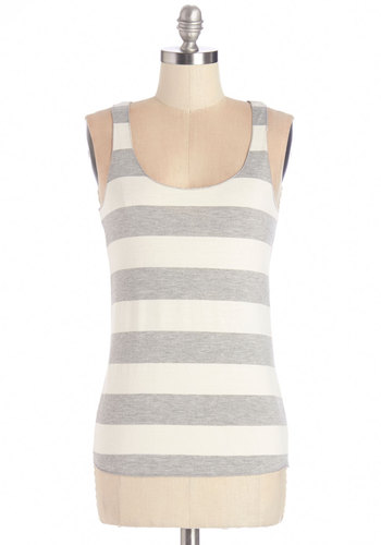 Be Right Out Top - Mid-length, Knit, White, Stripes, Casual, Tank top (2 thick straps), Racerback, Spring, Summer, Scoop, Grey, Sleeveless, Grey, Good