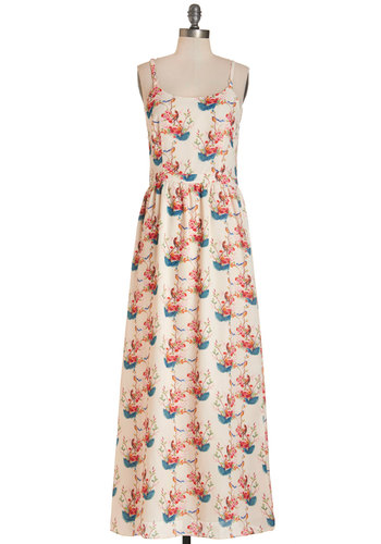 Daylight Romance Dress by Pink Martini - Multi, Print with Animals, Casual, Maxi, Summer, Woven, Better, Scoop, Long, Spaghetti Straps, Critters