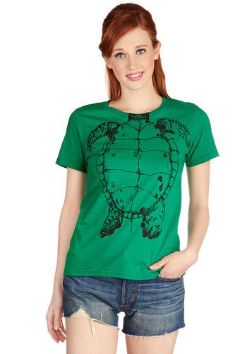 Shell-Bound Tee - Cotton, Knit, Green, Print with Animals, Novelty Print, Casual, Quirky, Critters, Short Sleeves, Green, Short Sleeve, Crew, Halloween