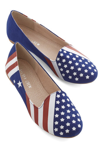 United We Step Flat by Chelsea Crew - Flat, Blue, Red, White, Stripes, Novelty Print, Casual, Statement, Americana, Good