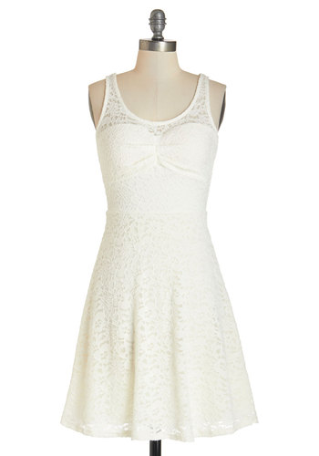 Pretty Up and At 'Em Dress - White, Solid, Lace, A-line, Sleeveless, Better, Scoop, Summer, Knit, Mid-length, Casual, Girls Night Out