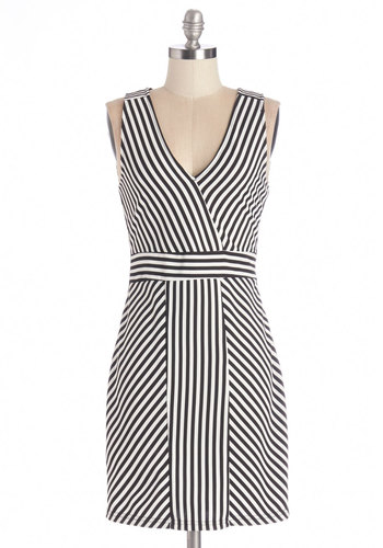 Panel of Experts Dress - Black, White, Stripes, Party, Girls Night Out, Bodycon / Bandage, Sleeveless, Knit, Good, V Neck, Mid-length