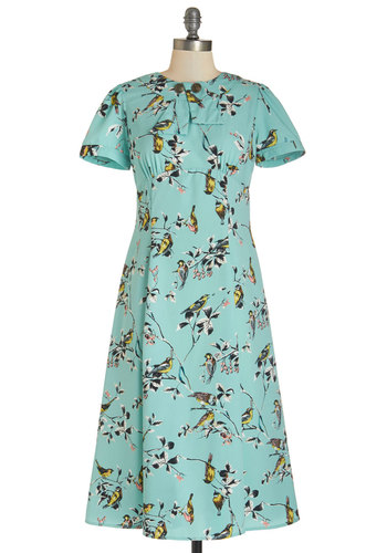 Believe it or Dot Dress in Birds - Long, Blue, Multi, Floral, Casual, A-line, Short Sleeves, Better, Crew, Mint
