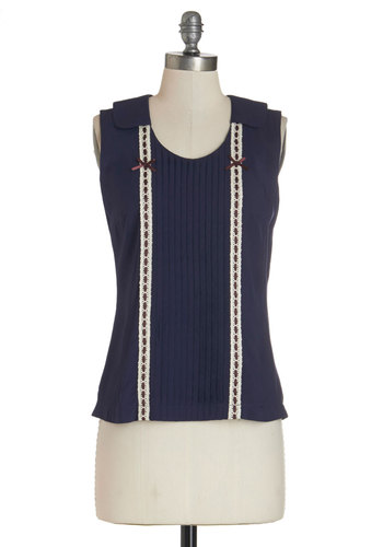 Straight to the Shop Top by Bea & Dot - Mid-length, Woven, Mixed Media, Blue, Solid, Bows, Trim, Work, Sleeveless, Exclusives, Private Label, Blue, Sleeveless