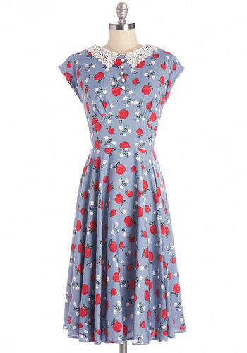 Pie, Anyone? Dress - Woven, Blue, Multi, Novelty Print, Crochet, Casual, Vintage Inspired, 40s, A-line, Cap Sleeves, Summer, Better, Buttons, Fruits, Collared, Long