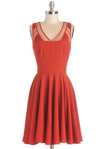 Midtown Margaritas Dress - Solid, Cutout, Party, A-line, Sleeveless, Woven, Better, V Neck, Mid-length, Orange