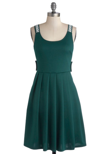 Crisscross Country Trip Dress in Jade - Green, Solid, Buttons, Cutout, Lace, Pleats, Casual, A-line, Sleeveless, Summer, Knit, Better, Scoop, Variation, Mid-length, Pockets