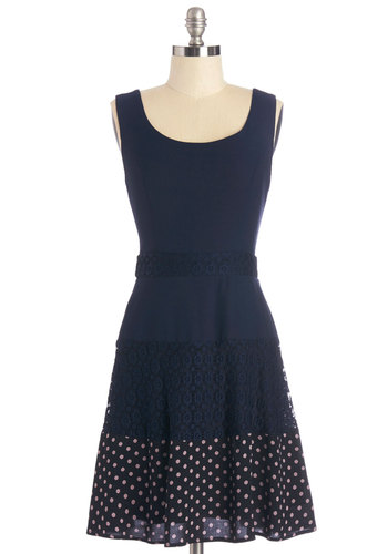 Navy Next Time Dress - Blue, Lace, Daytime Party, A-line, Sleeveless, Summer, Knit, Good, Scoop, Mid-length, Polka Dots