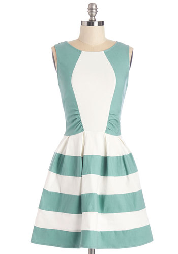 Happiest Hodgepodge Dress - Mint, Pleats, Daytime Party, A-line, Sleeveless, Summer, Good, Scoop, Mid-length, Knit, White