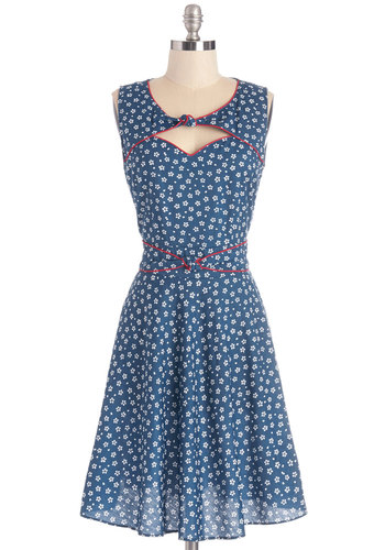 Good Ol' Daisy Dress in Blue Bouquet by Trollied Dolly - Mid-length, Cotton, Woven, Blue, White, Floral, Cutout, Casual, Sundress, A-line, Sleeveless, Summer, Better, Red, Trim, Vintage Inspired, 40s, 50s, Variation