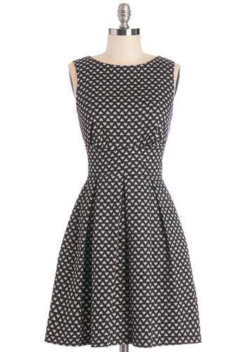 Ain't We Haute Fun? Dress in Hearts by Closet - Black, White, Novelty Print, Cutout, Casual, A-line, Sleeveless, Woven, Good, Scoop, Mid-length, Exposed zipper