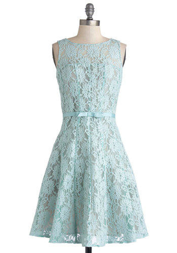 Winsome Welcome Dress - Blue, Bows, Lace, Wedding, Bridesmaid, Vintage Inspired, 50s, Fit & Flare, Sleeveless, Better, Scoop, Sheer, Woven, Mid-length, Pastel, Daytime Party, Graduation, Spring, Prom, Lace