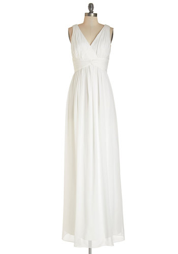 Grand Guest Dress in White - Maxi, White, Prom, Wedding, Bride, Solid, Ruching, Special Occasion, Sleeveless, Best, V Neck, Long, Chiffon, Woven, Full-Size Run