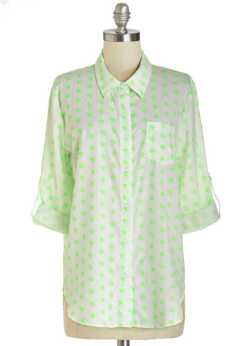 Shining Brightly Top - Mid-length, Woven, Multi, Green, White, Novelty Print, Buttons, Pockets, Casual, Neon, Long Sleeve, Collared, Green, Tab Sleeve