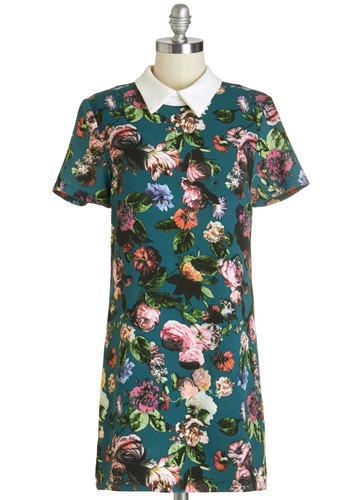 Moonlight Market Dress - Multi, Floral, Casual, Vintage Inspired, 60s, Shift, Short Sleeves, Summer, Good, Collared, Short, Knit