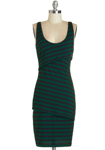 Rain Catcher Dress in Deep Sea - Green, Stripes, Casual, A-line, Sleeveless, Knit, Better, Scoop, Eco-Friendly, Mid-length, Cotton, Variation