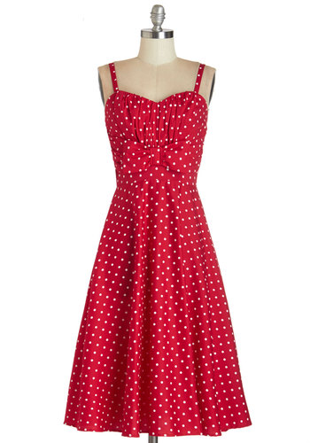 Humbly Haute Dress in Red by Stop Staring! - Red, White, Polka Dots, Bows, Vintage Inspired, 50s, A-line, Sleeveless, Woven, Better, Sweetheart, Pinup, Americana, Long, Exclusives, Daytime Party, WPI, Party