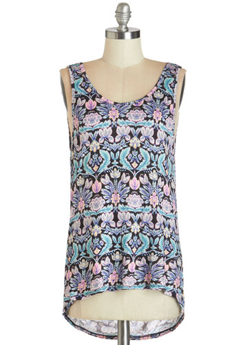 Sweet and Serene Top - Multi, Sleeveless, Mid-length, Jersey, Knit, Multi, Print, Backless, Casual, Tank top (2 thick straps), Scoop