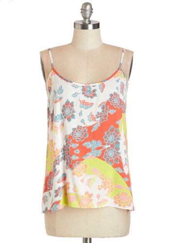 The Brightest Blooms Top - Multi, Spaghetti Strap, Mid-length, Woven, Orange, Yellow, Floral, Beach/Resort, Spaghetti Straps, Summer, Exclusives, White, Casual, Scoop, Good