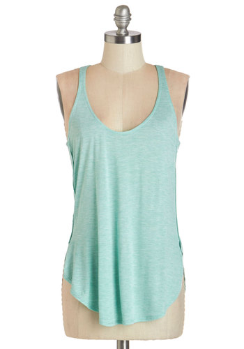 Breeze and Thanks Tank - Mid-length, Jersey, Knit, Mint, Solid, Casual, Pastel, Tank top (2 thick straps), Summer, Basic, Scoop, Blue, Sleeveless, Beach/Resort, Racerback, Good