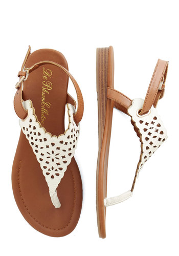Plucky for You Sandal - Low, Faux Leather, White, Solid, Cutout, Casual, Daytime Party, Festival, Good, T-Strap, Boho