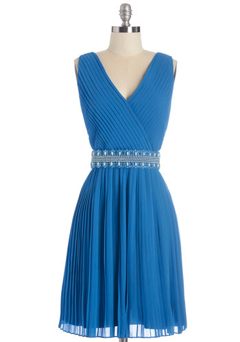 Glitz and Grandeur Dress in Aquamarine - Mid-length, Blue, Solid, Beads, Pearls, Special Occasion, Prom, Wedding, Cocktail, Bridesmaid, Homecoming, A-line, Sleeveless, Better, V Neck, Pleats, Belted, Exclusives, Variation, Full-Size Run, Party