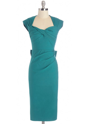 Tea Time After Time Dress in Teal by Stop Staring! - Variation, Green, Solid, Bows, Cutout, Shift, Cap Sleeves, Woven, Better, Cocktail, Pinup, Vintage Inspired, 50s, Work, Long