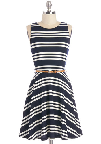 All Bands on Deck Dress - Mid-length, Knit, Blue, White, Stripes, Casual, Nautical, A-line, Tank top (2 thick straps), Good, Scoop, Belted