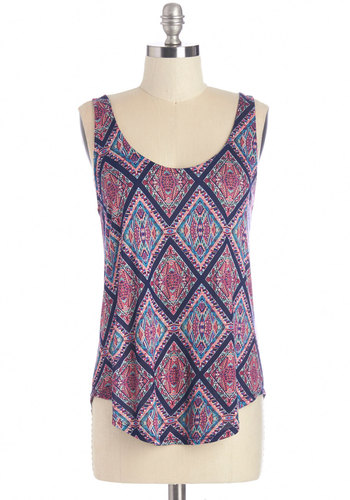 Practice Mosaics Perfect Top - Mid-length, Jersey, Knit, Purple, Blue, Print, Casual, Tank top (2 thick straps), Summer, Purple, Sleeveless, Scoop, Good