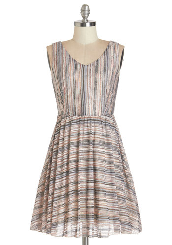 Sediment to Rock Dress - Multi, Stripes, Casual, A-line, Sleeveless, Summer, Woven, Better, V Neck, Short
