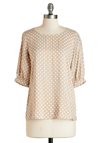 Root Beer Floaty Top - Better, Brown, Short Sleeve, Mid-length, Woven, Tan, Polka Dots, Work, Short Sleeves, White