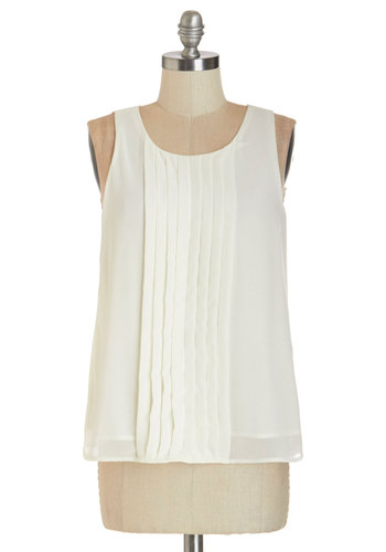 Pleat Smarts Top - Mid-length, Woven, White, Solid, Pleats, Work, Cocktail, Daytime Party, Sleeveless, White, Sleeveless, Buttons, Scoop