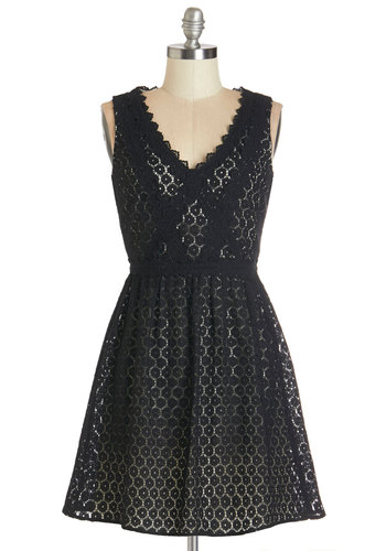 Washington for the Weekend Dress - Black, White, Lace, Trim, Party, A-line, Sleeveless, Woven, Better, V Neck, Mid-length, Lace