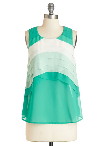 Rhythm and Brews Top - Mid-length, Sheer, Woven, White, Casual, Daytime Party, Sleeveless, Spring, Summer, Green, Sleeveless, Green, Mint, Scoop, Good