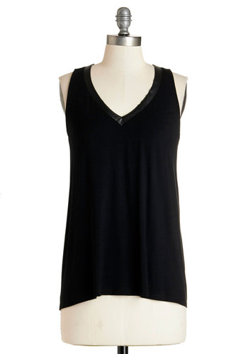 Silents, Please! Top - Black, Sleeveless, Mid-length, Jersey, Knit, Black, Solid, Cocktail, Girls Night Out, Sleeveless, V Neck